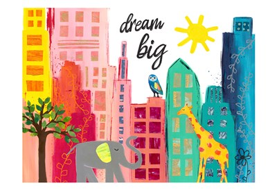 Dream Big Animals in the City Art Print by McCully