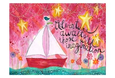 Adventure Awaits Sailboat Art Print by McCully