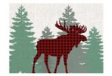 Moose Plaid Art Print