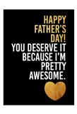 Fathers Awesome Gold Art Print