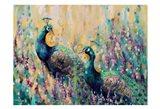 Peacocks In The Field 1 Art Print