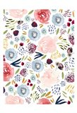 Floral Pink Red Blue Art Print