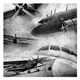 Vintage Plane Montage BW Art Print
