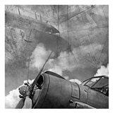Vintage Planes Maps BW Art Print