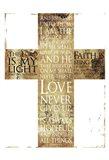 Text Gold Cross Art Print