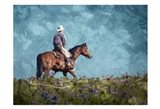 Cowboy Enjoys The Outlooktif Art Print