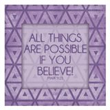 Purple Triangles Believe Art Print