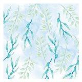 Blue Floral Pattern 1 Art Print