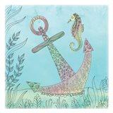 Anchored Seahorse Art Print