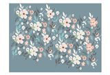 Folksy Flora Grey Floral Scatter Art Print