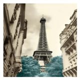 Teal Eiffel Tower 1 Art Print