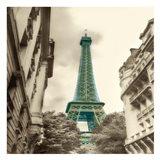Teal Eiffel Tower 2 Art Print