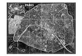Paris Map BW Art Print