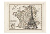 Eiffel Tower Map Art Print