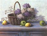 Basket of Purple Flowers Art Print