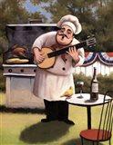 Barbecue Chef and Banjo Art Print