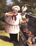 Barbecue Chef with Hot Sauce Art Print