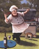 Barbecue Chef with Cat Art Print