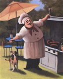 Barbecue Chef with Dog Art Print