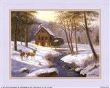 Log Cabin with Deer Art Print