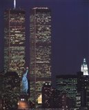 Wtc With Statue Of Liberty Art Print