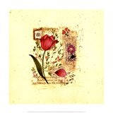 Flower Notes with Purple Tulip Art Print