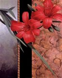 Orchid Red/Teal Damasque Art Print