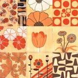 Orange Floral Montage Art Print