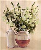 White Flowers In Vase With Bottle Art Print