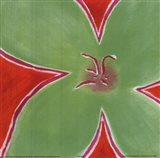 Green Flower With Orange Background Art Print
