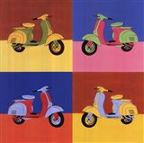 Four Motor Scooters Art Print