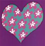 Pink Flowered Heart Art Print