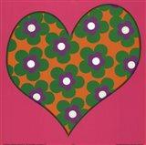 Green Flowered Heart Art Print