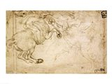 A Horseman in Combat with a Griffin Art Print