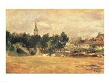 Landscape with a Village Church Art Print