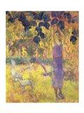 Man Picking Fruit from a Tree, 1897 Art Print