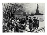 New York - Welcome to the land of freedom - An ocean steamer passing the Statue of Liberty Art Print