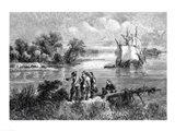 The Moravians Ascending the Delaware Art Print