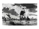 Arrival of the English at Roanoke Art Print