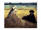 On the Beach, 1873 Art Print