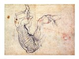 Preparatory Study for the Arm of Christ in the Last Judgement, 1535-41 Art Print