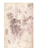 Study of figures for 'The Last Judgement' with artist's signature, 1536-41 Art Print