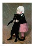 A Small Girl with a Cat, 1889 Art Print