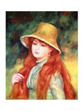 Young girl in a straw hat, 1884 Art Print