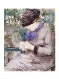 Girl Sitting in the Garden Knitting, 1879 Art Print
