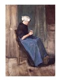 Young Scheveningen Woman Knitting, Facing Right Art Print