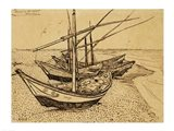 Fishing Boats on the Beach at Saintes-Maries-de-la-Mer, 1888 Art Print