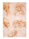 Seven Studies of Grotesque Faces Art Print