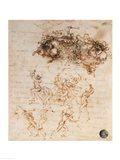 Study of Horsemen in Combat and Foot Soldiers, 1503 Art Print