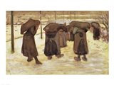 Miners' wives carrying sacks of coal, 1882 Art Print